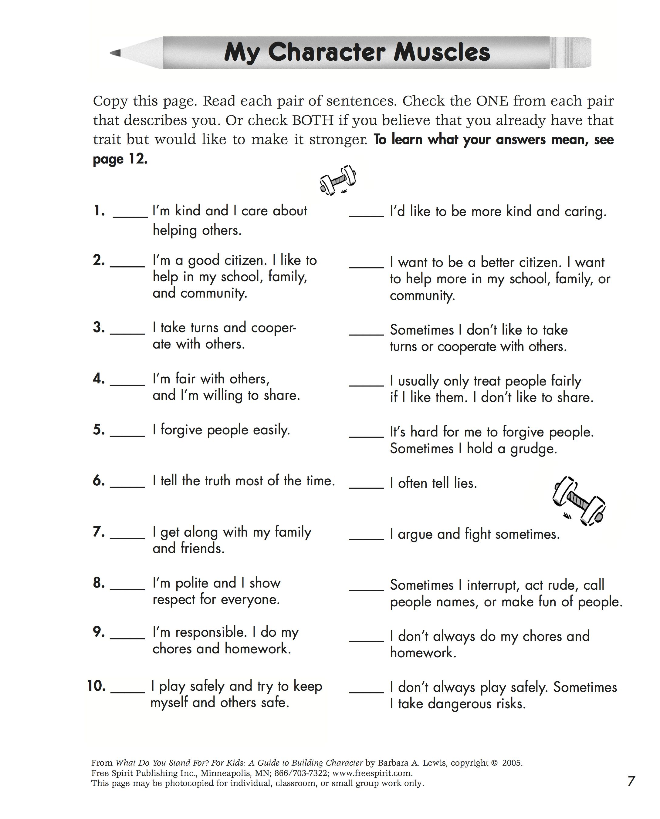 Free Printable Character Education Quiz To Help Kids Learn