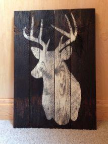 Deer Silhouette Sign Reclaimed Pallet Wood