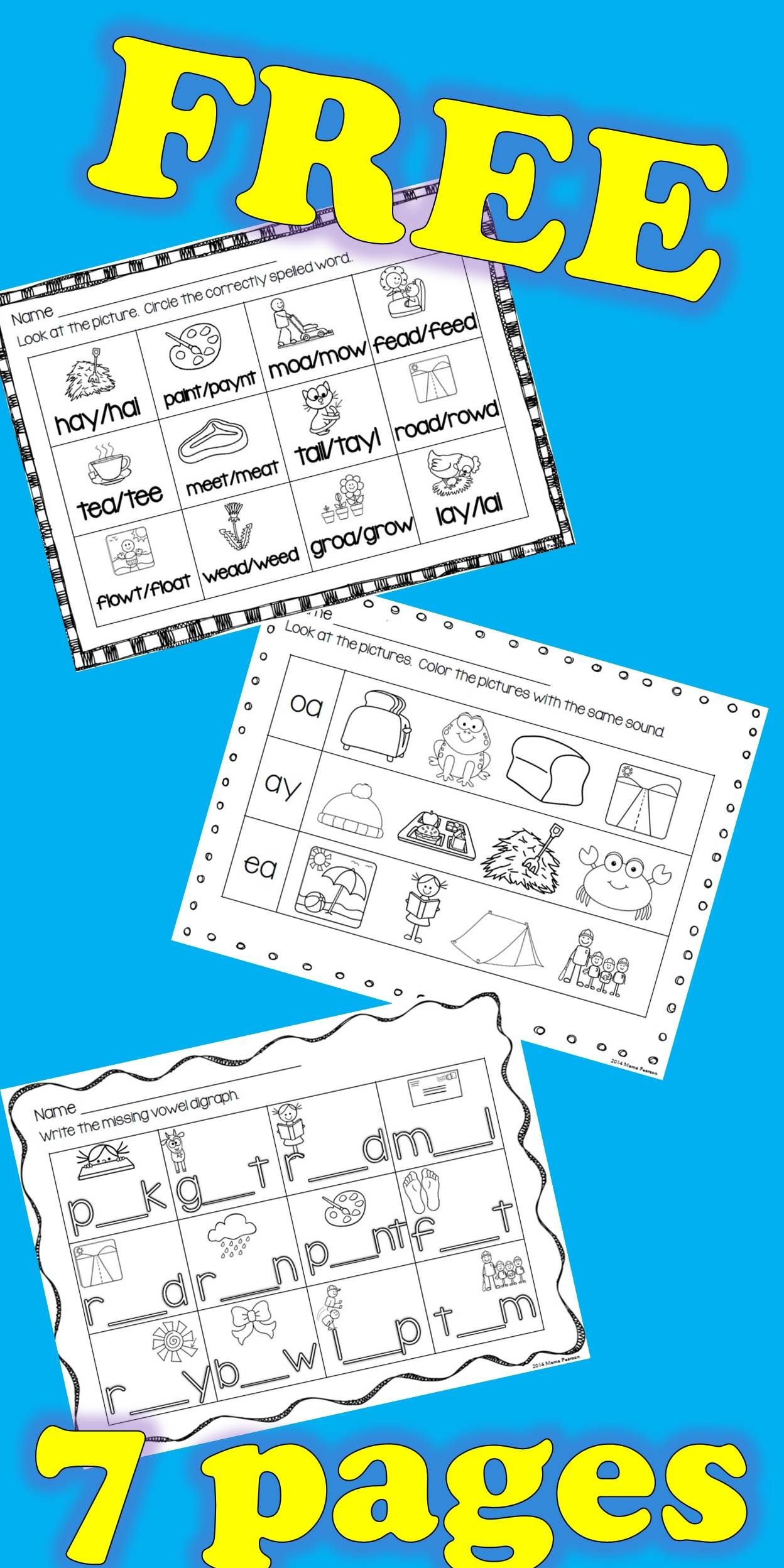 Free 7 Sheets Perfect For Helping Your Students With Vowel Digraphs Do You Teach With Saxon