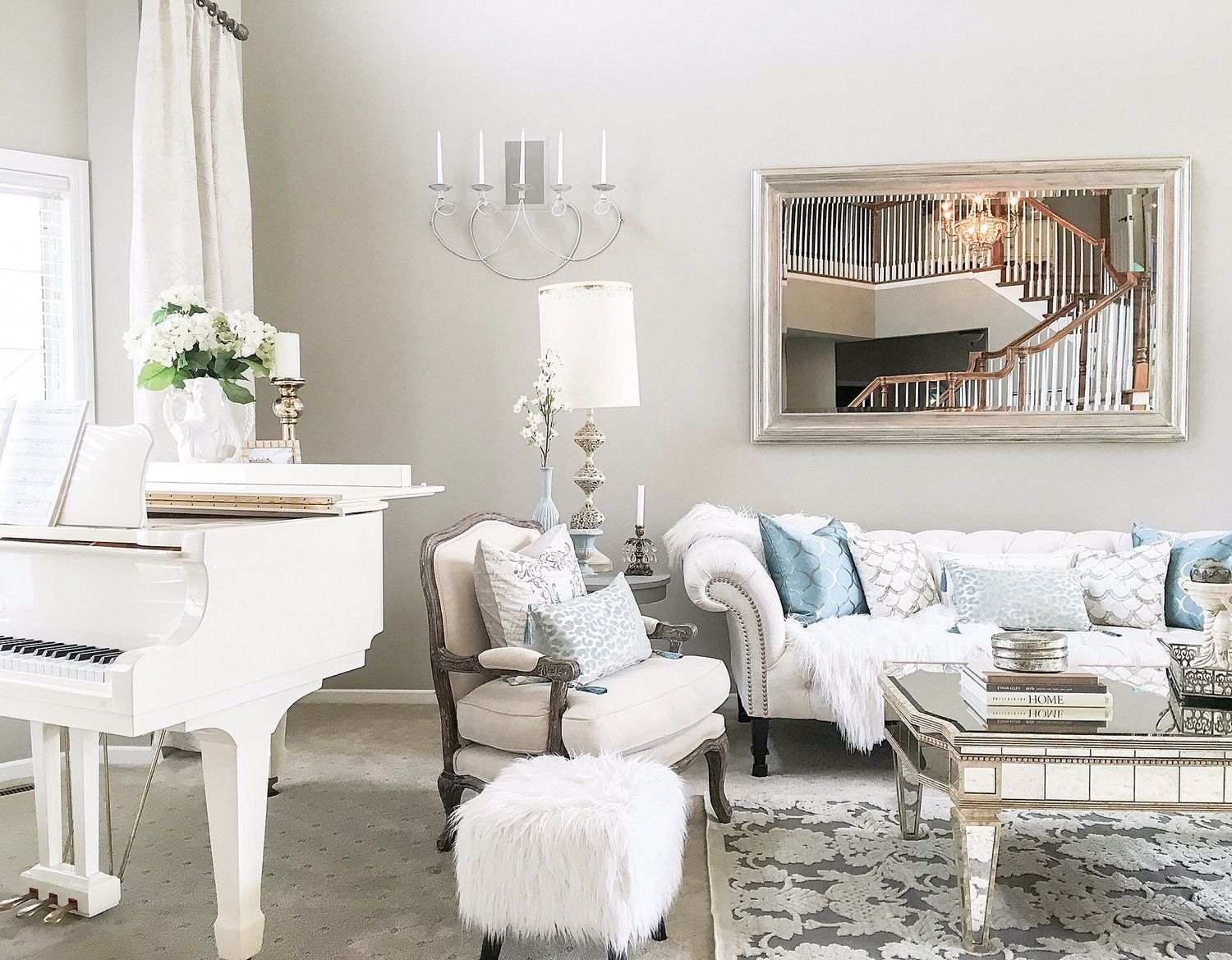 White Baby Grand Piano in Living Room  Living Rooms