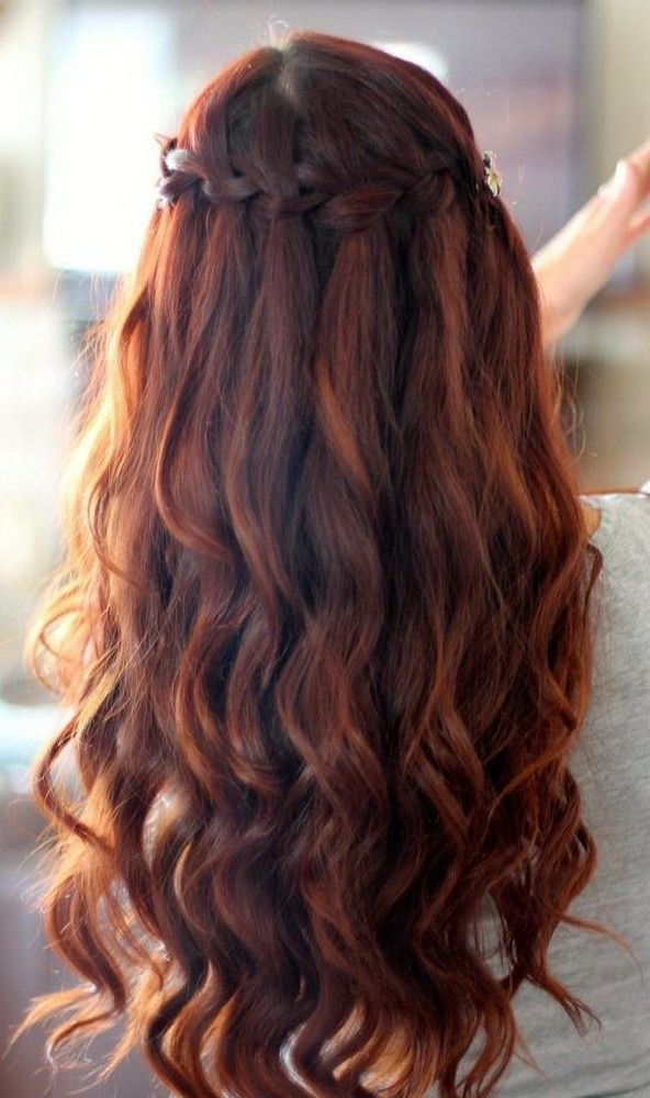 Homecoming Braided Hairstyles Waterfall Braid With Spiral Curls