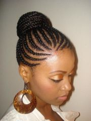 cornrows bun updo women ponytail