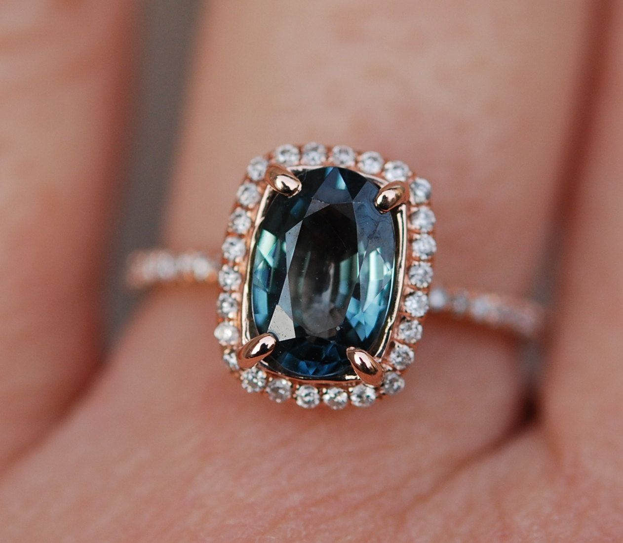 »blue Green Sapphire #engagement Ring Teal #sapphire 1