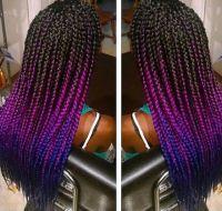 Fuchsia and blue ombre box braids! Jumbo braiding hair ...