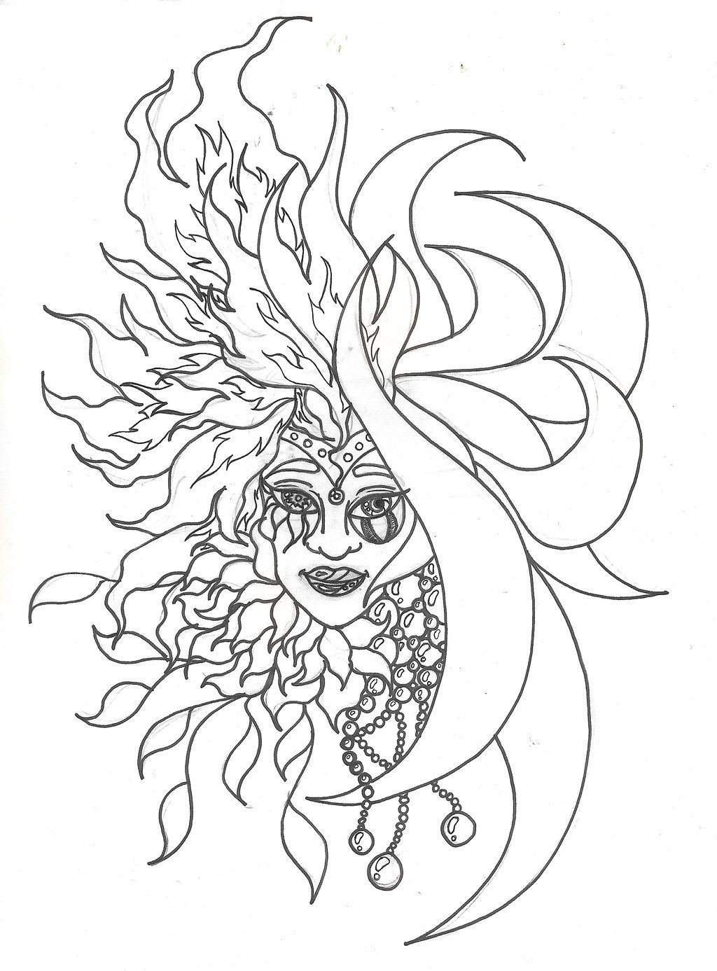 Celestial Coloring Page Adult How To Draw A Celestial Sun And Moon