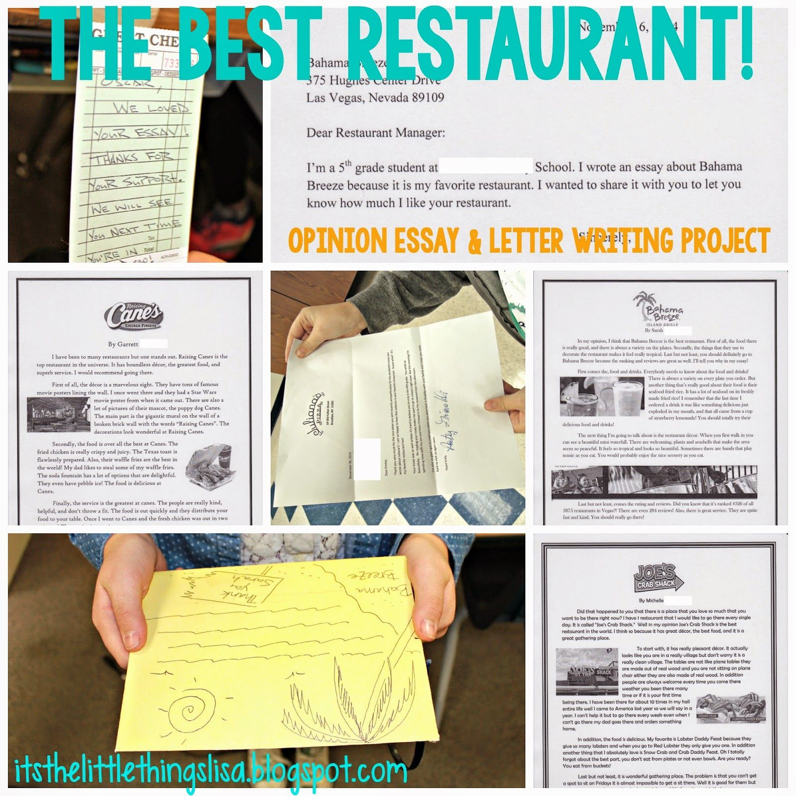 One Of My Favorite Writing Projects Is My Best Restaurant Opinion Essay That I Do With My Fifth