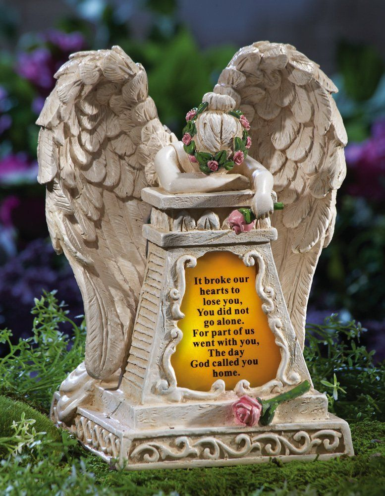 Amazon Com Solar Lighted Weeping Angel Memorial Garden Stone By