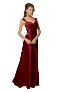 Candy Apple Red with Black Sash Bridesmaid Dresses