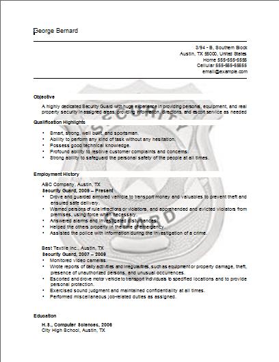 Security Guard Resume Security Guard Resume Sample Job Resume