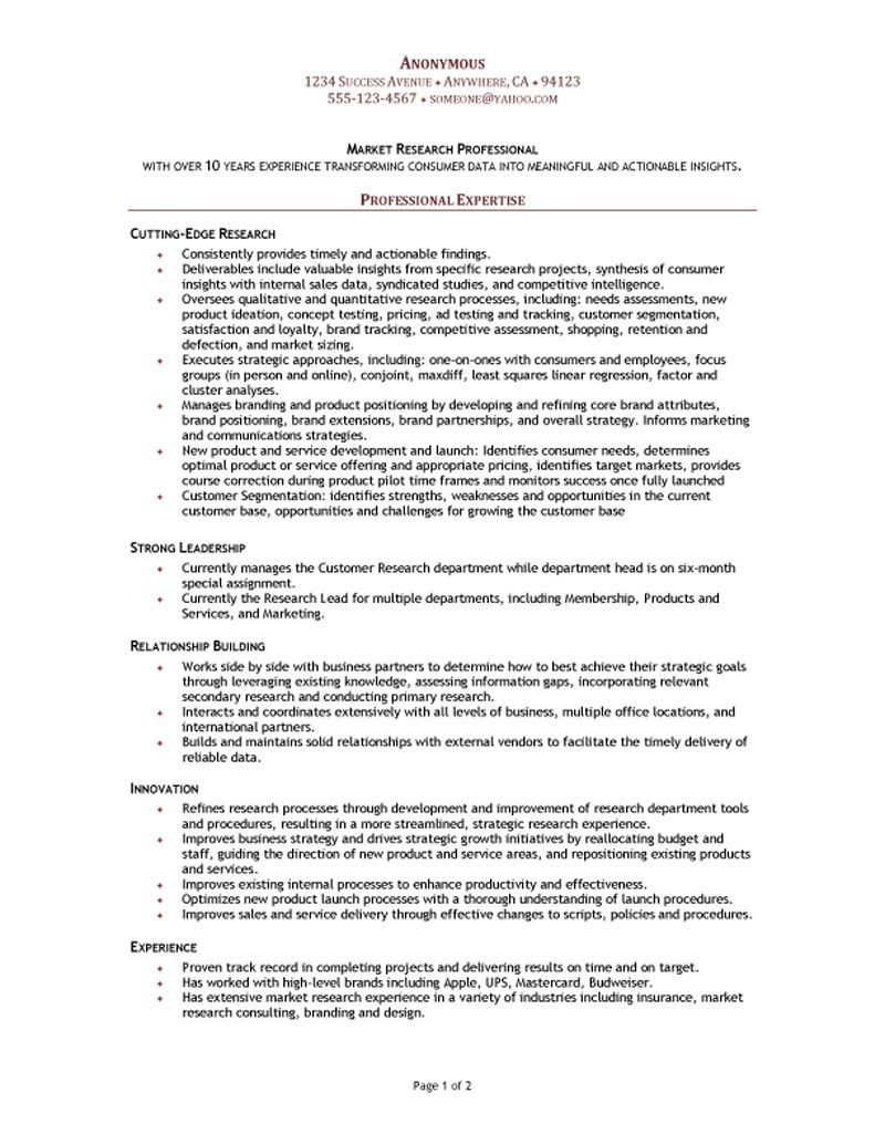 Market Research Analyst Resume Objective Megakravmaga Com