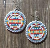 Navajo Native American Beaded Round White Pendleton Powwow