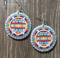 Navajo Native American Beaded Round White Pendleton Powwow ...