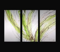 3 ABSTRACT CANVAS PAINTING white lime green brown. Modern ...