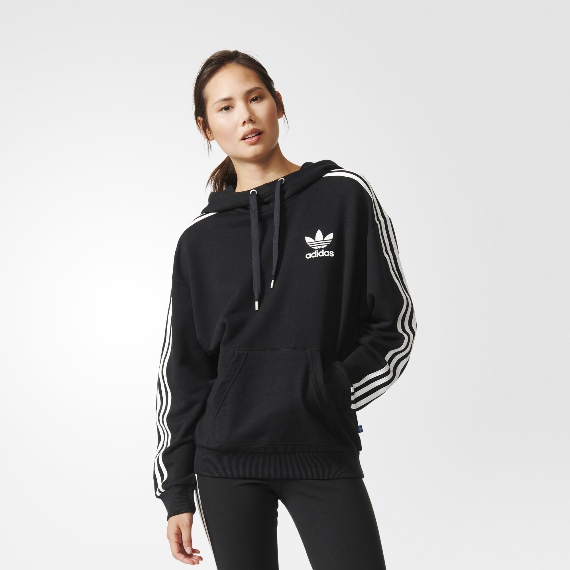 adidas stripes hoodie black adidas us