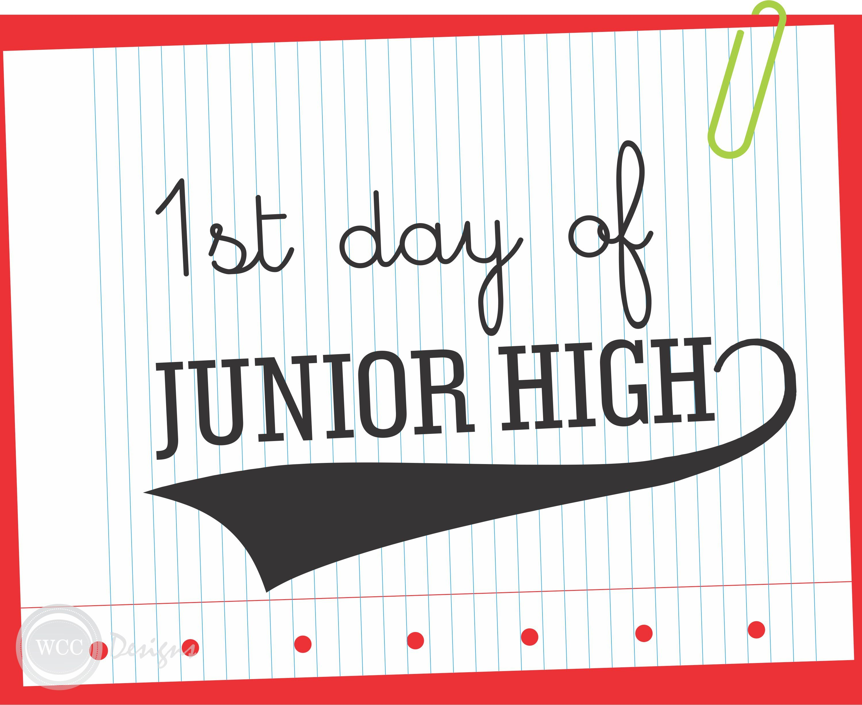 Free Printable First Day Of School Sign Junior High