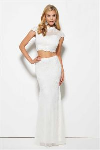 Fitted High Neck Cap Sleeve White Lace Two Piece Prom ...