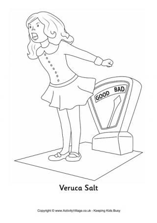 Veruca Salt Colouring Page. Roald Dahl coloring pages