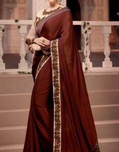 55544b57b3f4b7 Karishma kotak brown satin chiffon saree with dupioni net embroidered blouse  piece also buy now http