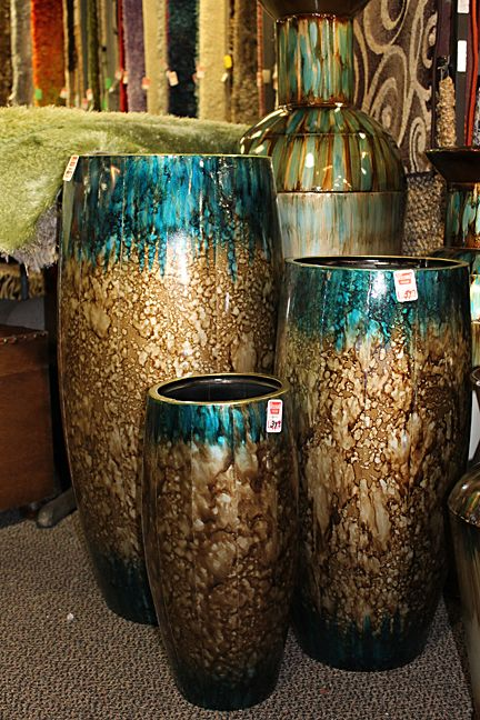 Brown And Turquoise Vases I Like Them What The Heck Would I