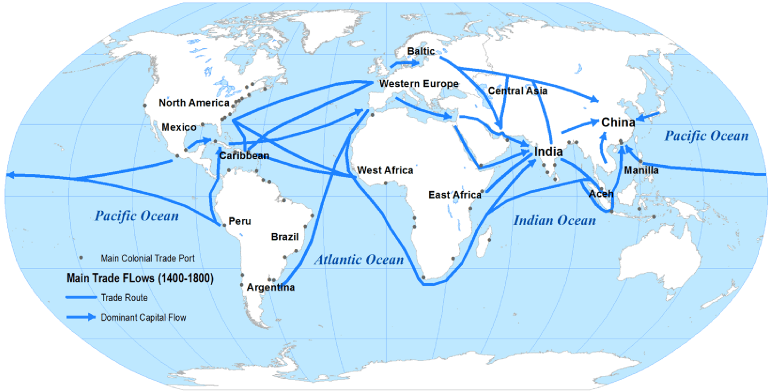 1750 Trade Routes Map