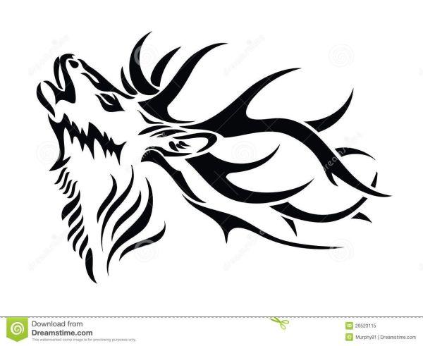 Tribal Deer Skull Tattoos Drawings