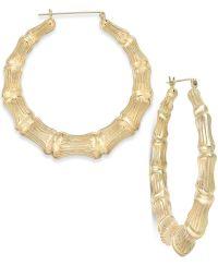 Bamboo Style Hoop Earrings in 10k Gold   Earrings ...