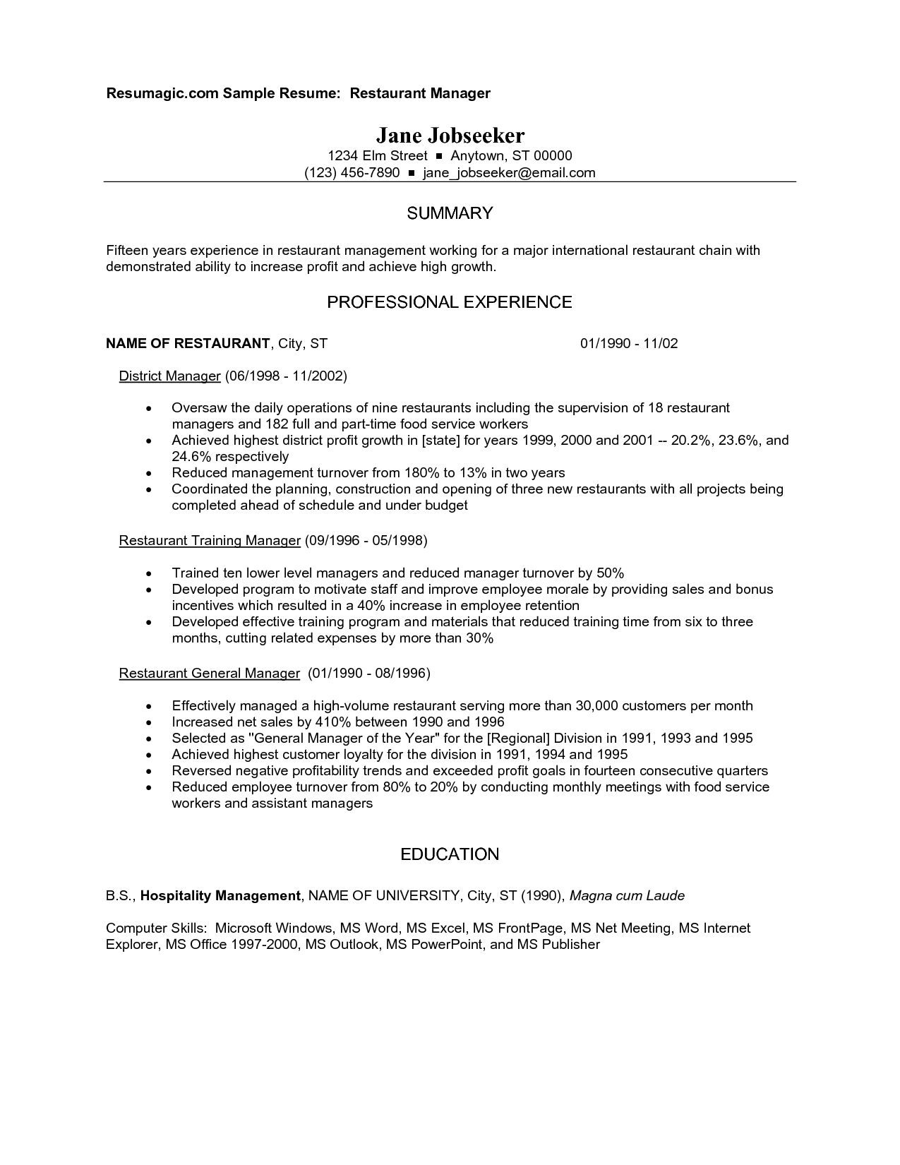 Lunch Supervisor Resume Sample Restaurant Manager Resume Example Http Www