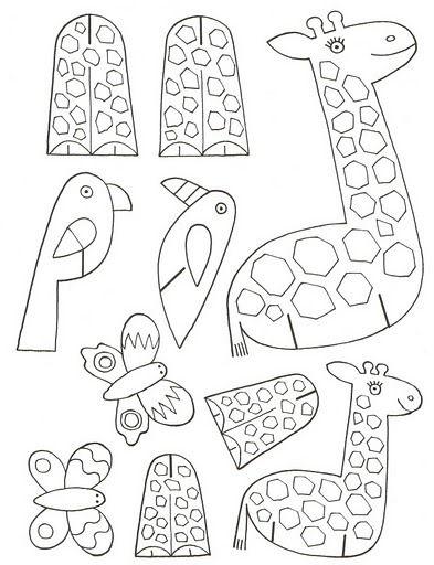 giraffe, bird, butterfly print on card stock color, cut
