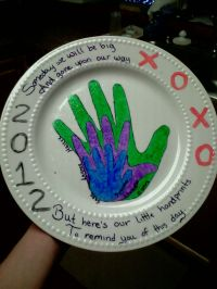 Dollar store plate, then buy acrylic paint or ceramic ...