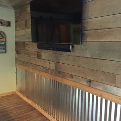 Corrugated Steel Chair Rail Parson Dining Barnwood And Tin Wall The Hooch Pinterest Walls