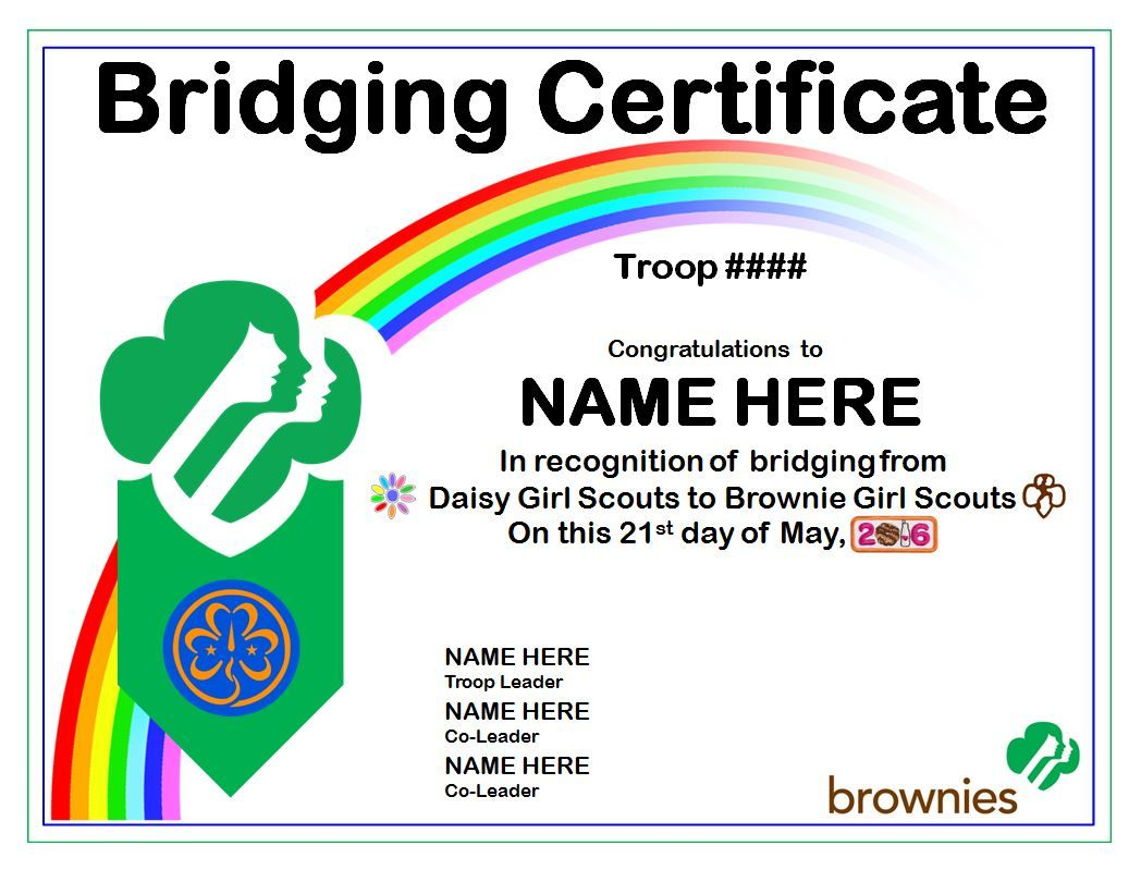 Girl Scout Brownie Investiture Certificate Printable