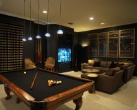 Dark media room with pool table | more MEDIA | Pinterest ...