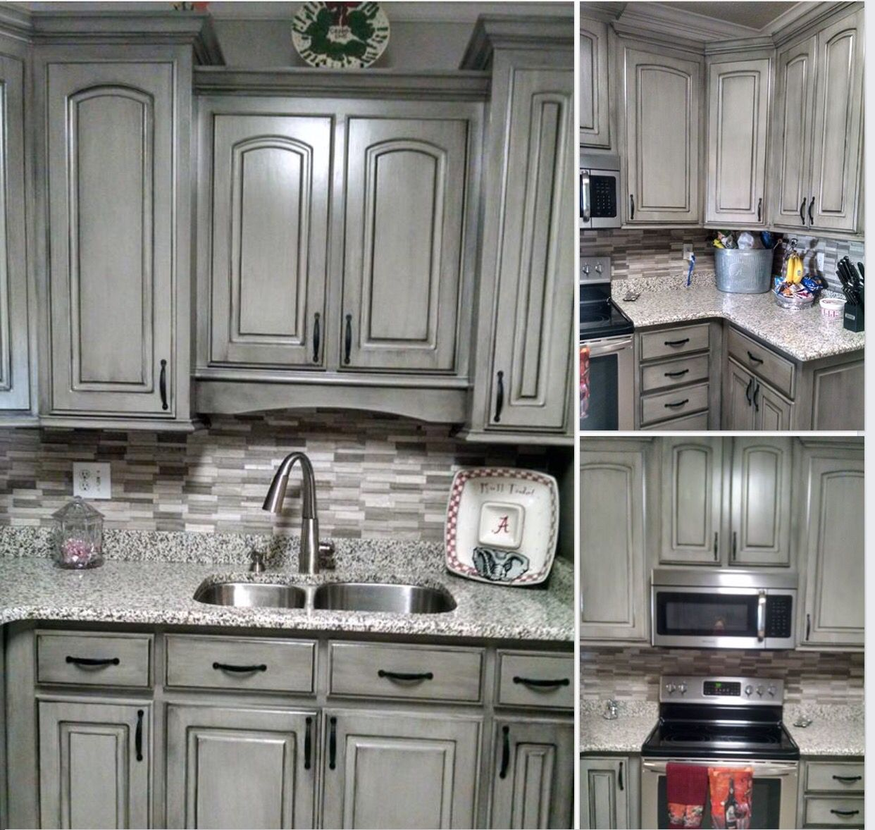 painted gray kitchen cabinets retro metal grey with black wax