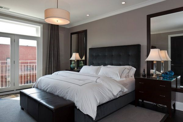 masculine + modern master bedroom ideas with black bed furniture