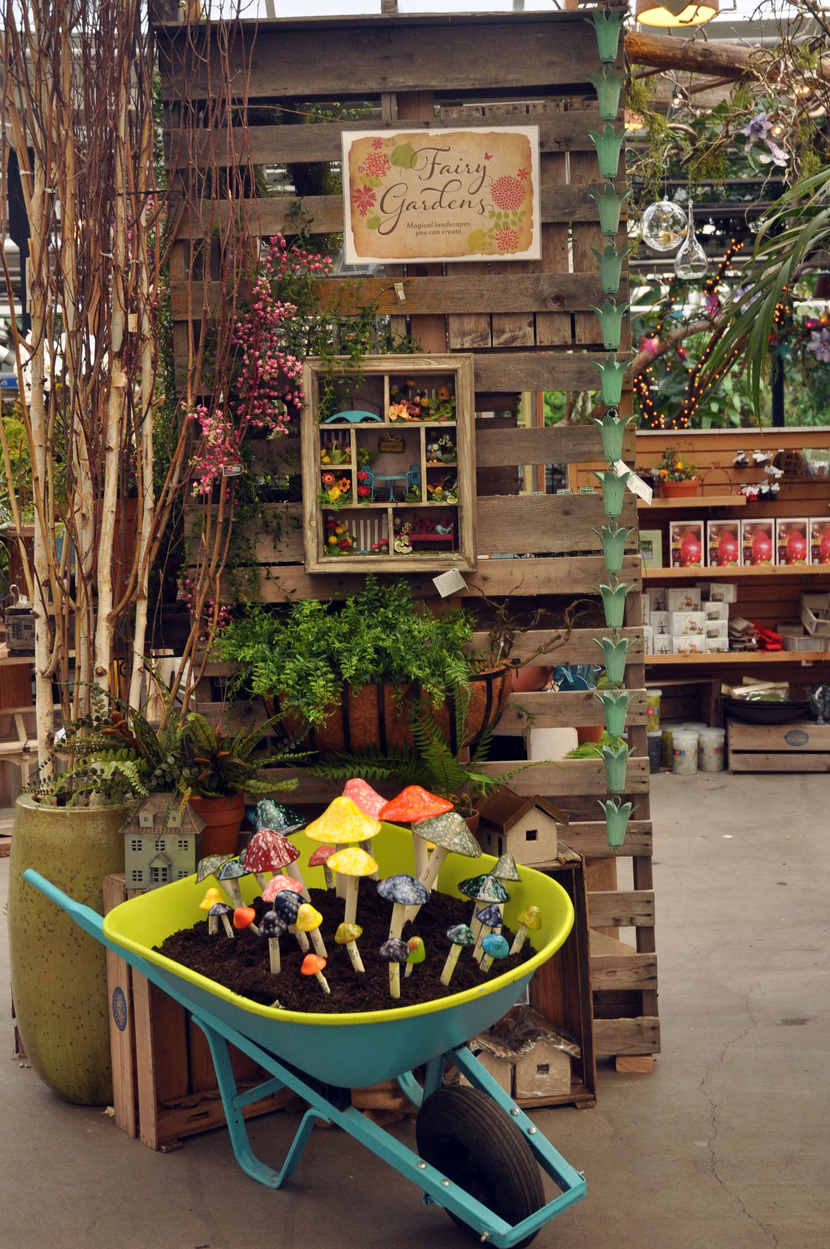 Fairy Garden Display At Molbak's Made From Old Pallets Fairy