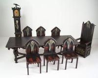OOAK Miniature Dollhouse Spooky Gothic Medieval Table & 6 ...