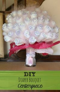DIY Diaper Bouquet Centerpiece, perfect baby shower gift