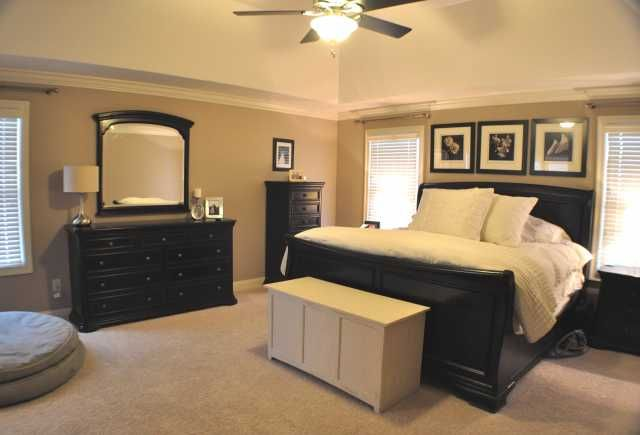 Master Bedroom With Black And Tan Color Palette. Like This