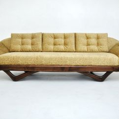Berwick Mid Century Sleeper Sofa Taupe Leather Set Adrian Pearsall Gondola Couch Modern