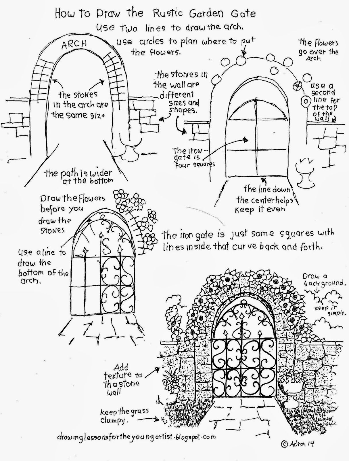 How To Draw The Rustic Garden Gate With A Stone Arch How