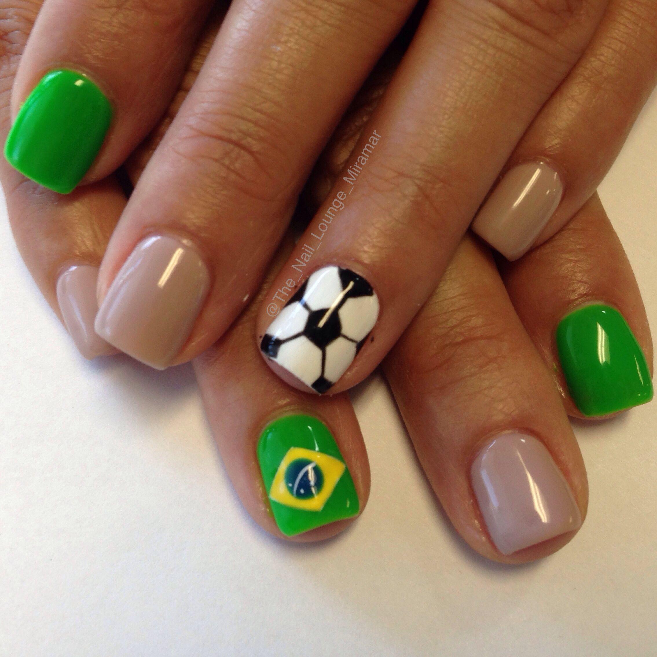 2014 World Cup brasil soccer nail art design