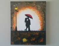 SALE Original Couple in rain painting,Couple kissing in ...