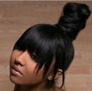top knot bun with bangs hair
