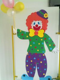 Colourful clown with balloons