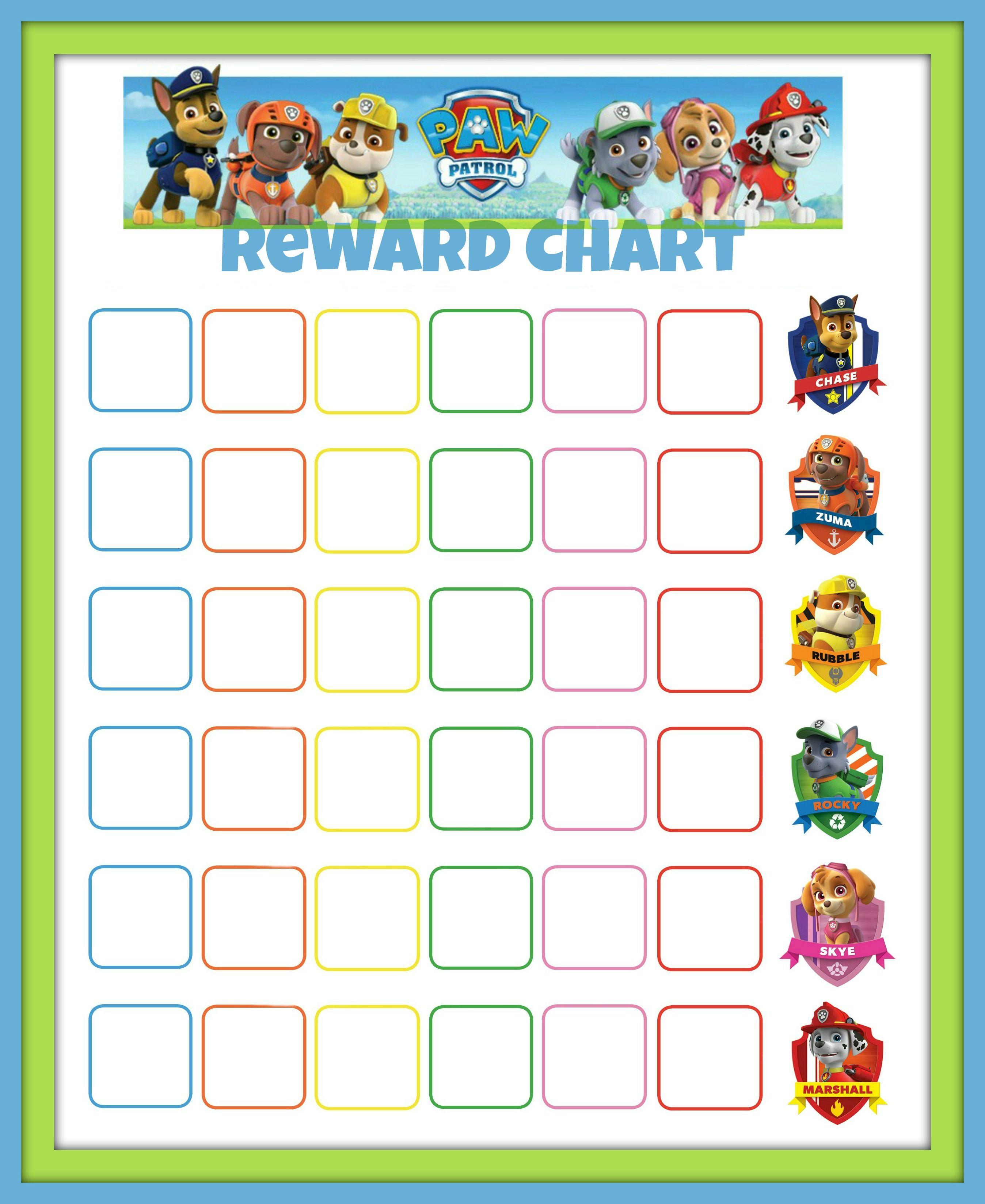 Paw Patrol Reward Chart