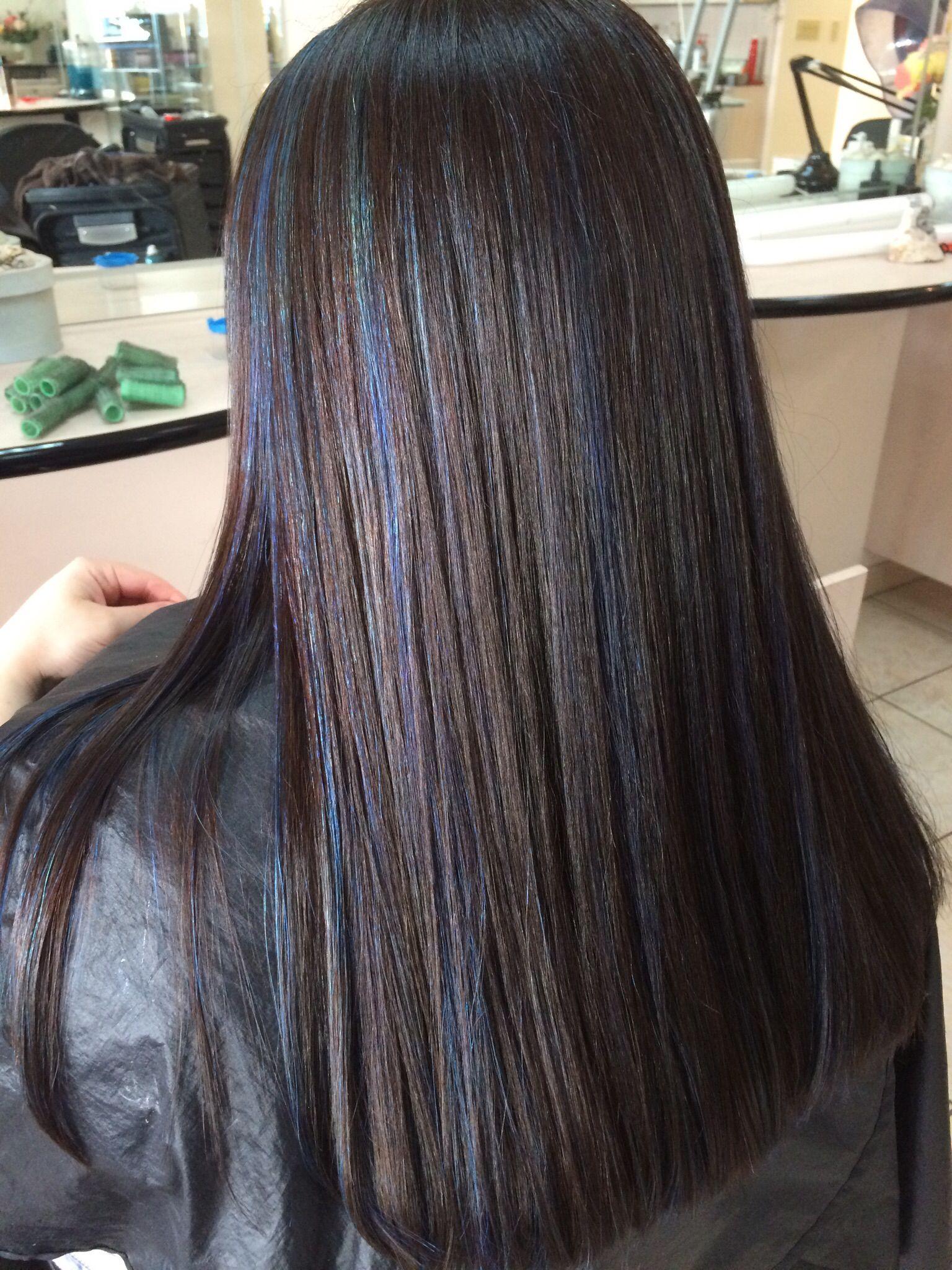 Dark Brown Hair With Blue Highlights Hair Ideas