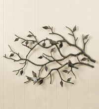 Indoor/Outdoor Cast Iron Bird Branch Wall Art | Metal Wall ...