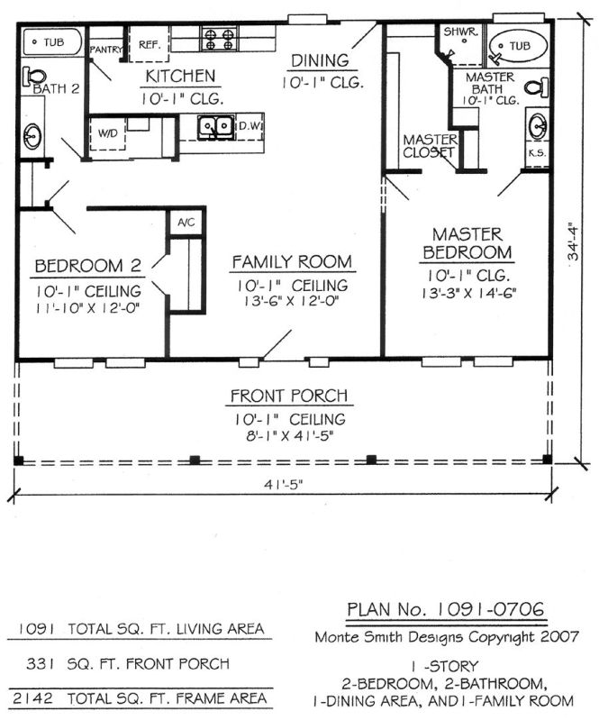 2 Bedroom Bath Floor Plan Don T Like Gally Kitchens But If Vaulted Could Work Would Still Want A Loft Or Something Of The Needs Lot Tweaks