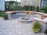 Paver Patio with firepit and all around sitting wall ...