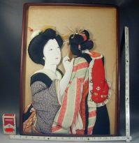 Japanese Wall Art 235 Antique Oshie Silk Fabric Kimono